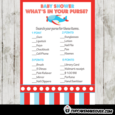 boy red blue airplane baby shower games price is right