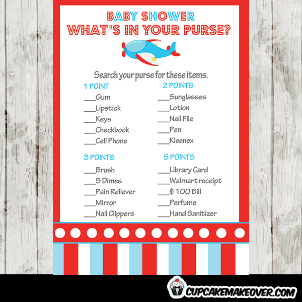 Airplane Baby Shower Games Red And Blue Cupcakemakeover