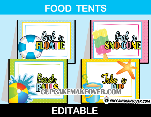 water bash pool party food labels