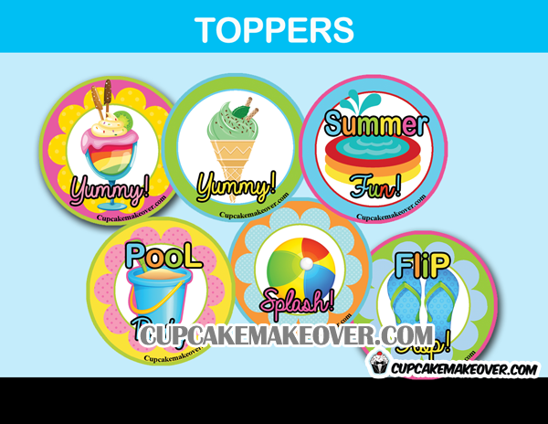 Summer time Pool party cupcake decoration