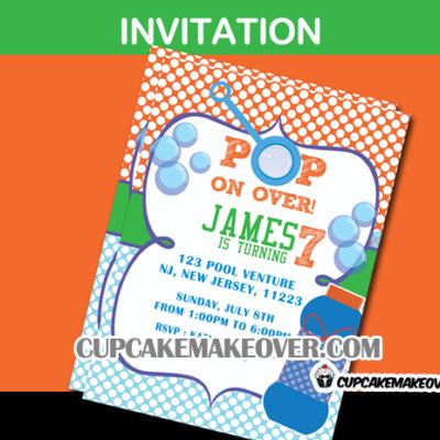 Bubbles birthday invitation card