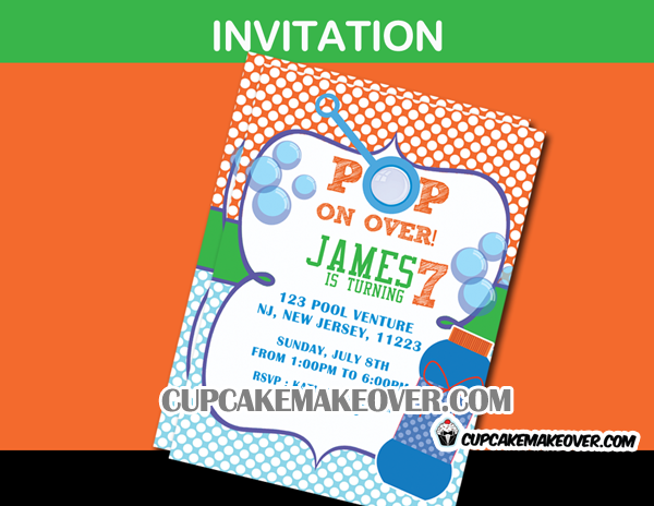 Bubbles birthday invitation card
