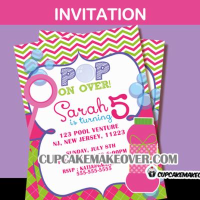 girls Bubble birthday invitation