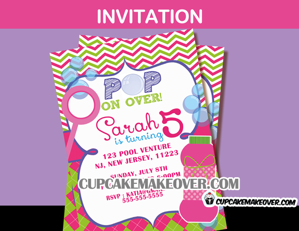 girls Bubble birthday invitation