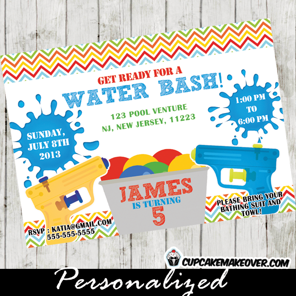boys water gun fight party invitation