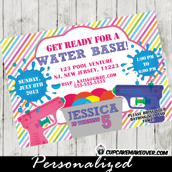 water gun fight invitation girls