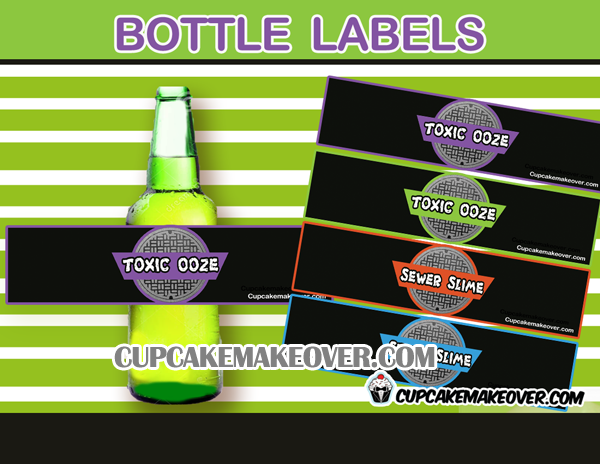 ninja turtles bottle labels toxic ooze sewer slime