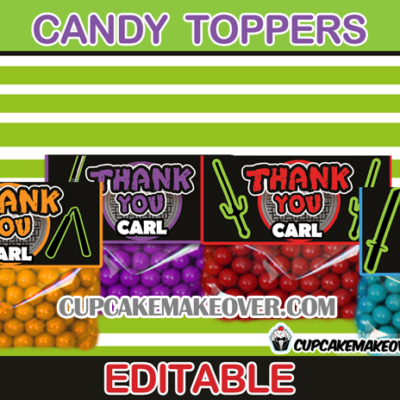 editable Ninja Turtles treat bag toppers