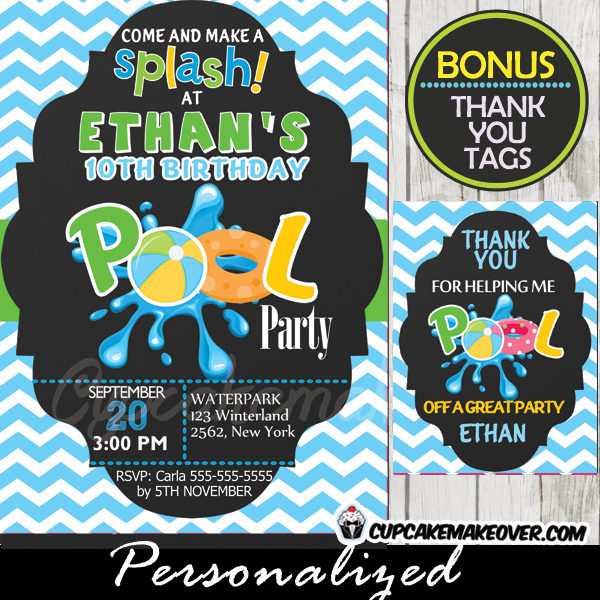 swimming pool birthday party invitation boys