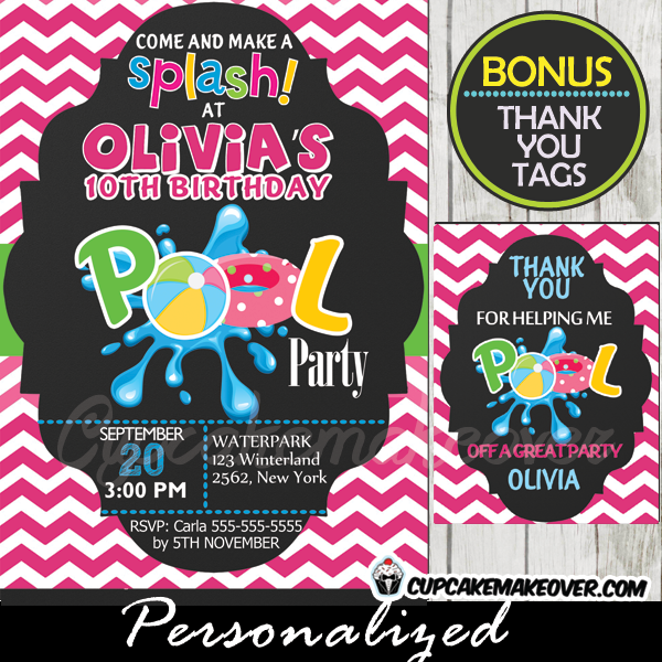 pool party invitation for girls pink chevron personalized d4