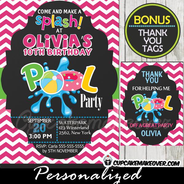 pink chevron swimming pool birthday party invitation girls printable