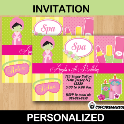 birthday girl spa party invitation card