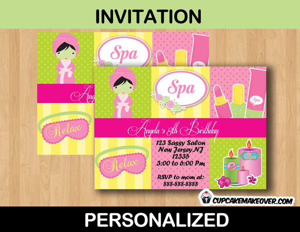 Spa birthday invitation card personalized cupcakemakeover birthday girl spa party invitation card filmwisefo