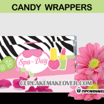 pink green zebra spa candy bar labels
