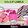 spa editable party stickers