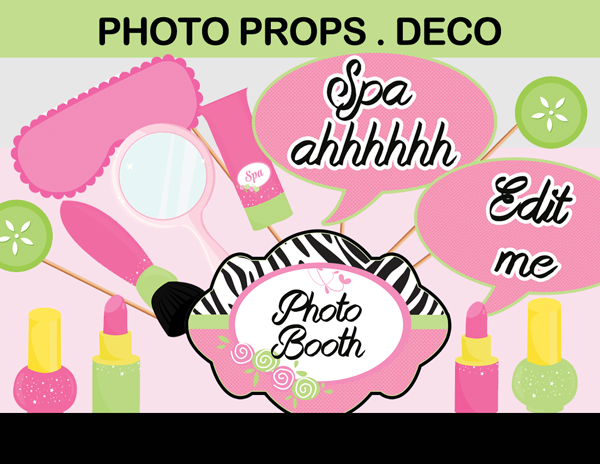girls spa day photo booth props