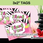 pink zebra spa favor tags