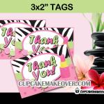 pink zebra spa favor tags