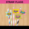 yummy comic action words straw flags