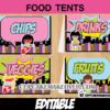 printable editable girls super hero food labels