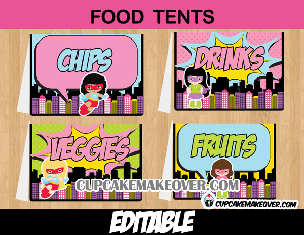 printable editable girls super hero food labels