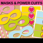 printable superhero comic photo props masks cuffs