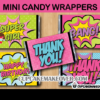 comic book party chocolate bar labels