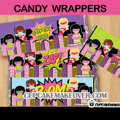 girl super hero comic book candy bar labels