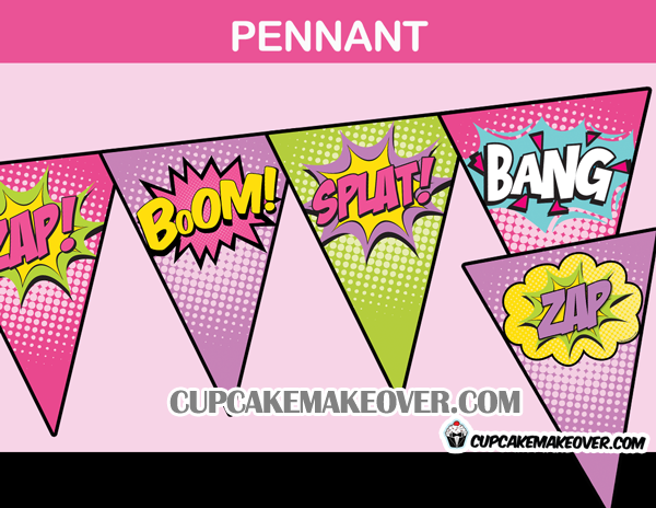 girls comic action words party banner