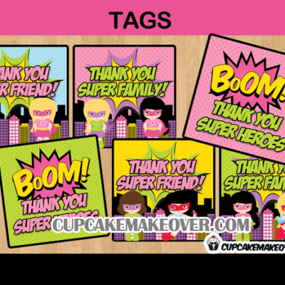 comic book super hero favor tags stickers labels