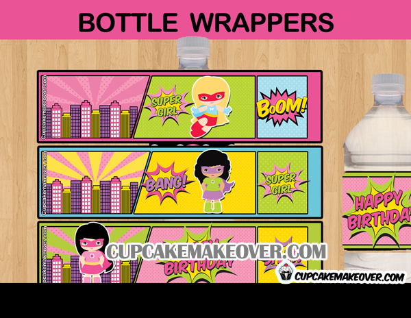 super hero comic girls bottle labels