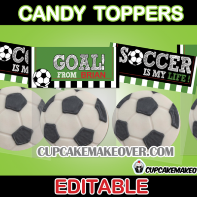 Editable printable soccer favor bag toppers