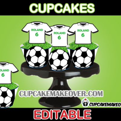 soccer team jersey toppers cupcakes