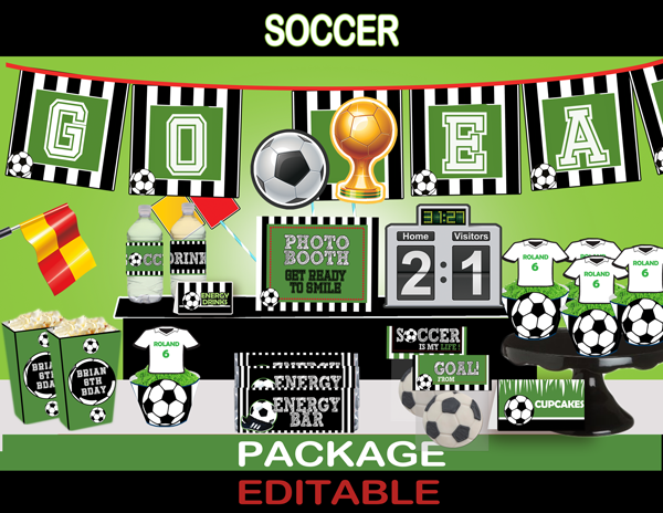 soccer printable party kit