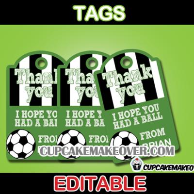 editable soccer favor tags
