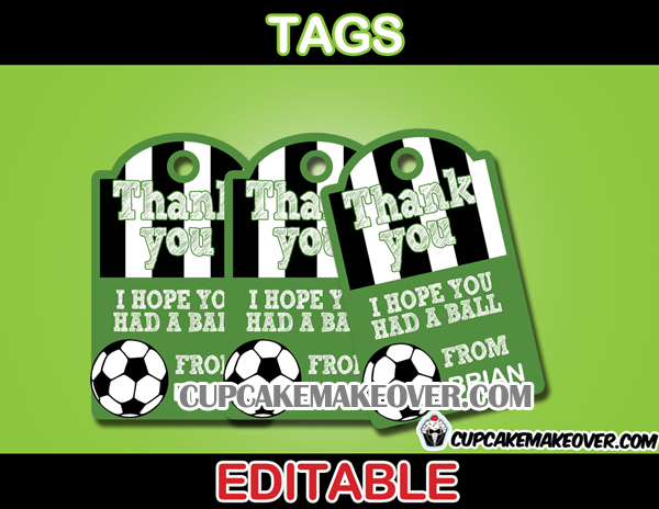 editable soccer favor tags