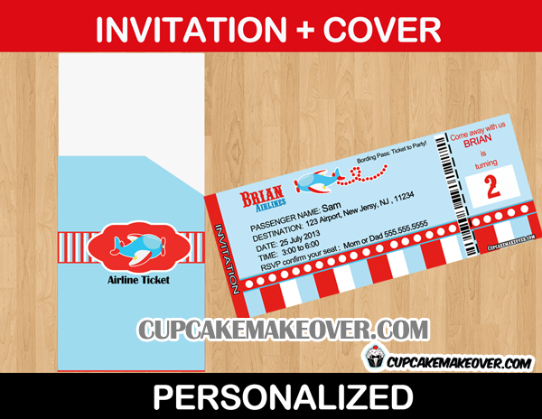 Airline Party Ticket Invitation  Airplane Ticket Invitations