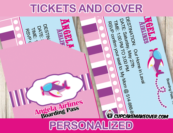 Pink Airplane Party Invitation Card Personalized Cupcakemakeover – Airline Ticket Birthday Invitations