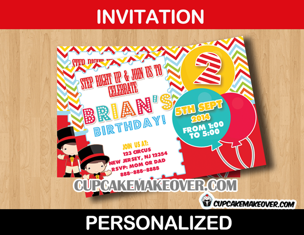 Carnival Party Invitation Card Personalized