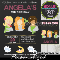printable mermaid birthday invitations girls