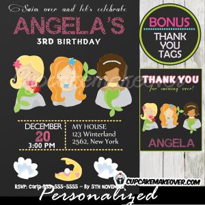 printable mermaid birthday invitations girls