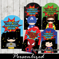 personalized superhero favor tags gift bag labels