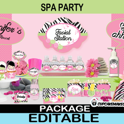 girls spa day printable birthday package
