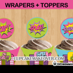 baby shower comic girl action words toppers
