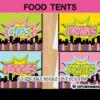editable comic party superhero girl food labels