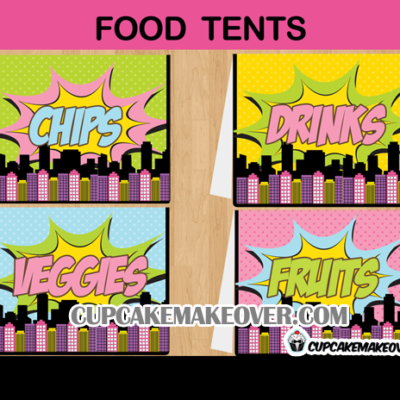 editable comic party superhero girl food labels