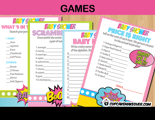 comic super girl baby shower games