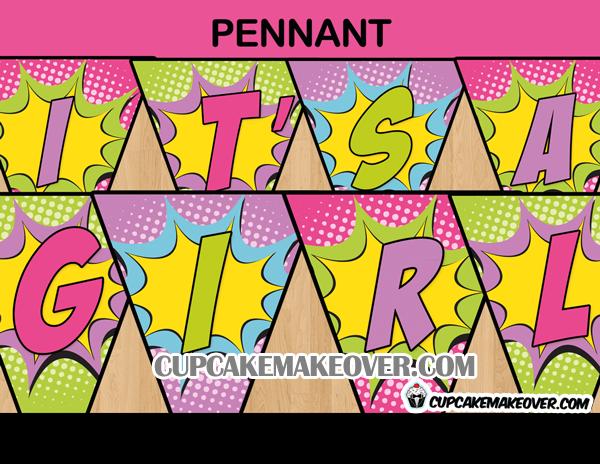 comic baby shower girl banner