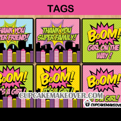 pink comic baby shower favor tags girls