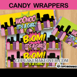 baby shower comic super girl candy bar labels